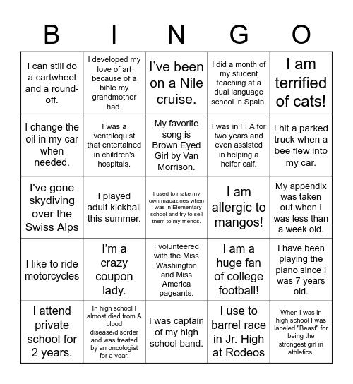 Shorthorn Staff Bingo Card