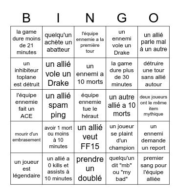 BINGO LOL DE YOONNS ! Bingo Card