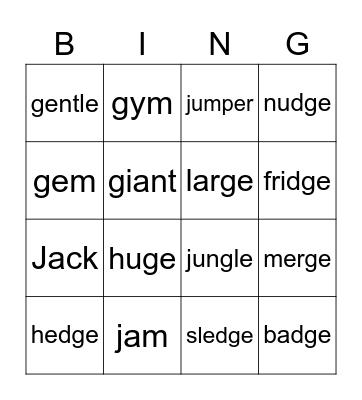 Unit 37 Sound /j/ Bingo Card