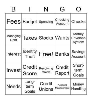 DCFCU Financial Literacy Bingo Card