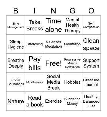 Self-Care Bingo Card
