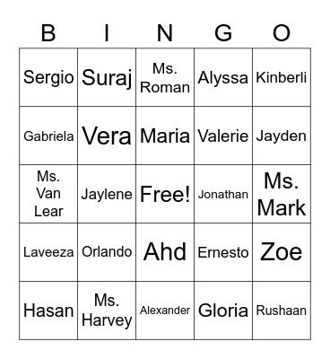 Summer Program Bingo Card