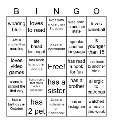 First Day Bingo Card