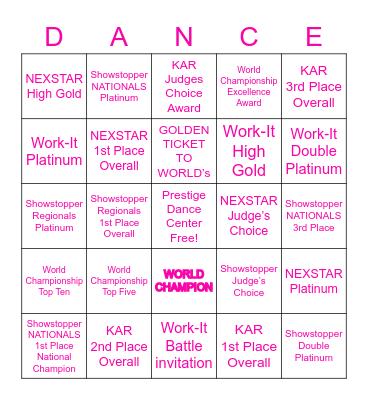 National Dance Champion's Bingo Card