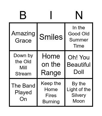 ElderSong Bingo Card