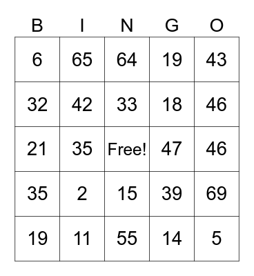 0-69 Bingo Card