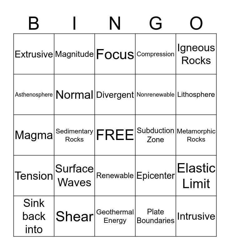 Unit 2 Bingo Card