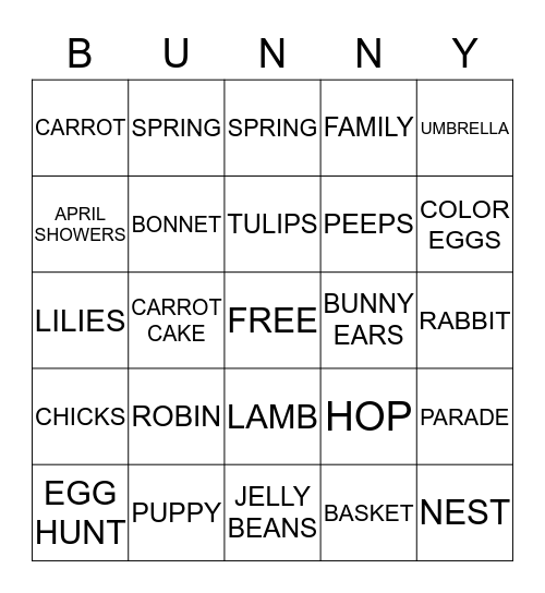 BUNNY BINGO! Bingo Card