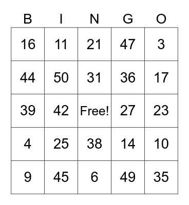 1-50 bingo Card