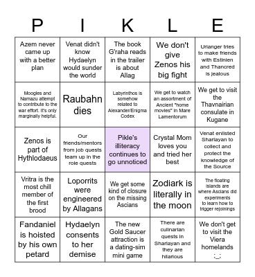 Pikle's Endwalker Bingo Card