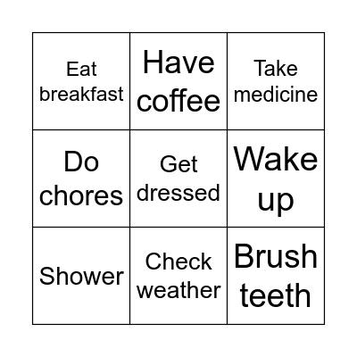 Morning Routine Bingo Card