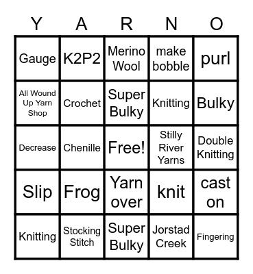 SKG YARNO Bingo Card