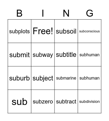 Sub- Bingo Card