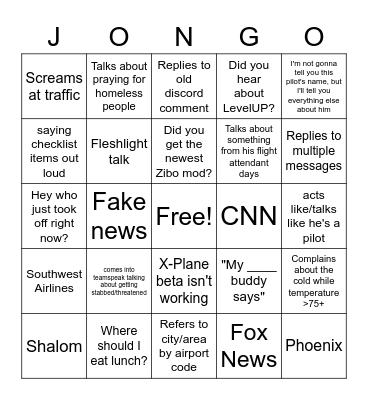John Manley Bingo Card