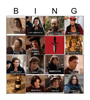 ROMEO & JULIET Bingo Card