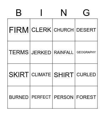 SPELLING WEEK 4 TERM 3 Bingo Card