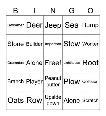 Unit 25 Bingo Card