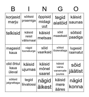 SILLE VEERANDSADA Bingo Card