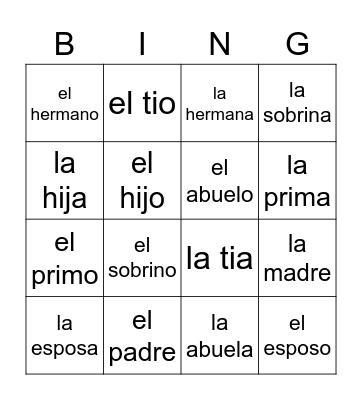 Familia Bingo Card