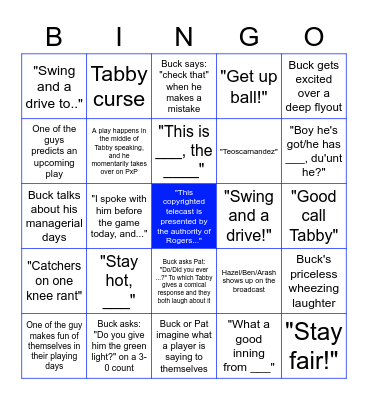 Buck and Pat's Bingo Bonanza Bingo Card
