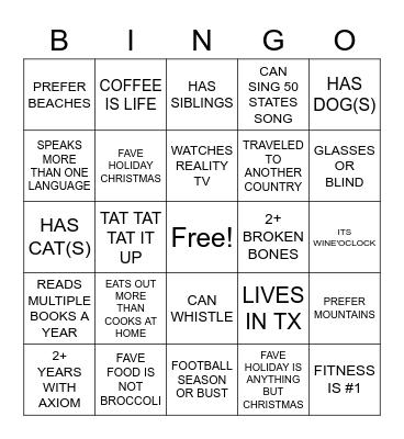 TEAM BUILDING BINGOOOO Bingo Card