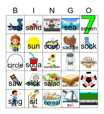 S at the beginning of words Bingo Card
