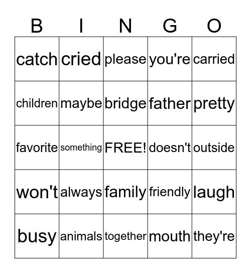 Fourth Quarter Words Bingo Card