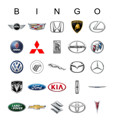 45 Automobile Logos Bingo Game Bingo Card