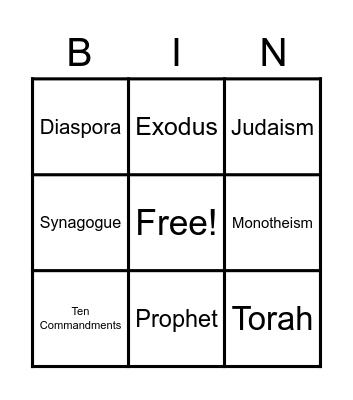 Israel Bingo Card