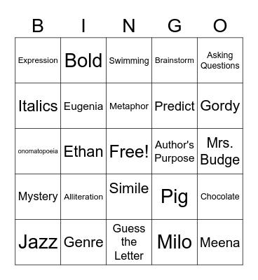 Reading Skills BINGO! Bingo Card
