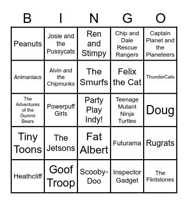 Radio Bingo - Cartoon Theme Songs Bingo Card