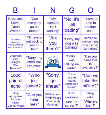 MWR Peeps Community Meeting Bingo Card
