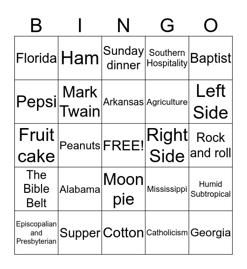 The South Bingo Card