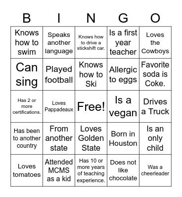 MCMS Bingo Card