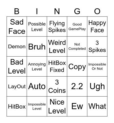 GD Bingo Episode 1 Bingo Card