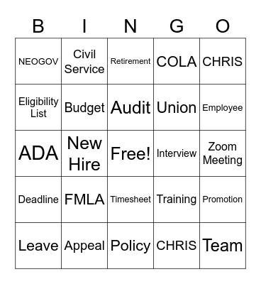 Human Resources Bingo Card