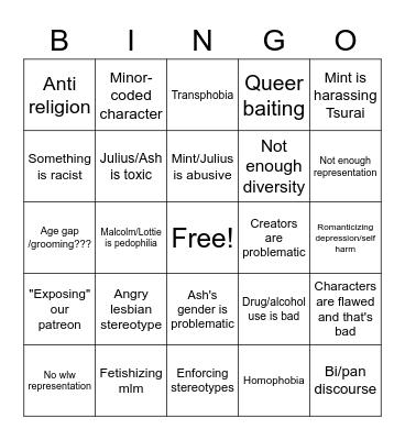 Oops, we're problematic Bingo Card