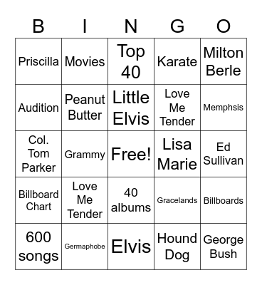 Elvis Presley Bingo Card