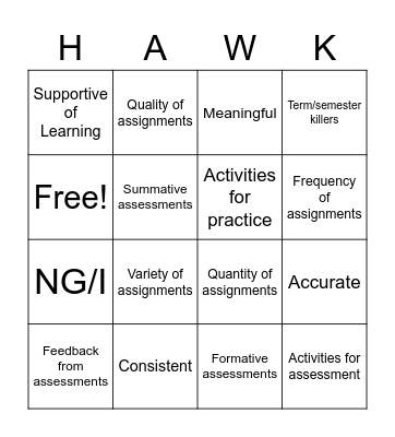 Grading and Instruction Bingo Card