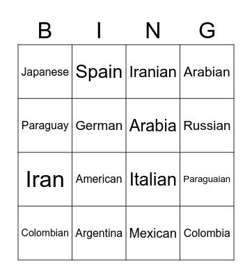 Countries and Nationalities Bingo Card