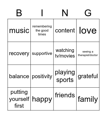 Building Positive Emotions Bingo Card