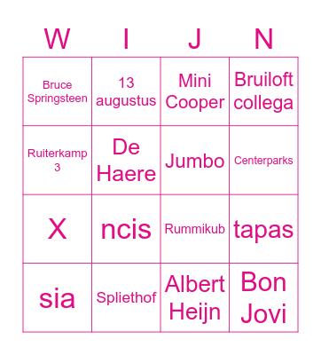 Vrijgezellenfeest Evelyn! Bingo Card