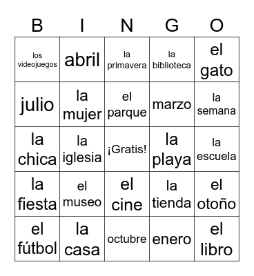 Summer Vocab #1 Bingo Card