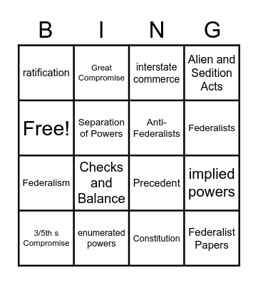 The New Nation Bingo Card