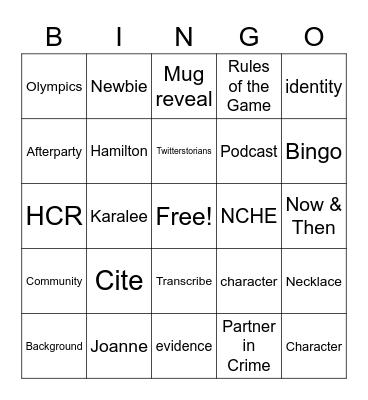 HMASDC July 30, 2021 Bingo Card