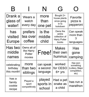 1 - Get to Know Bingo Card