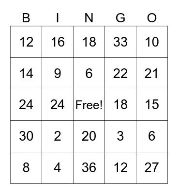 2's and 3's Bingo Card