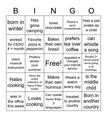 2 - Get to Know Bingo Card