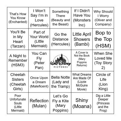 Name That Tune! Bingo Card