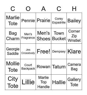 COACH Bingo! Bingo Card